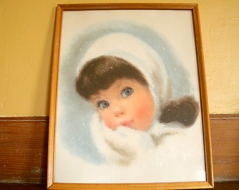 Vintage Framed 1960's American Beauties Snow Girl Print by Francis Hook PRICE REDUCED