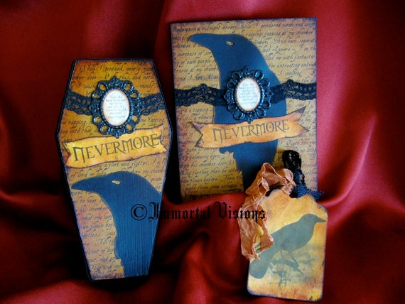 Halloween Coffin Box, Greeting Card and Tag - Poe Nevermore - Matching 3-piece Gift Set