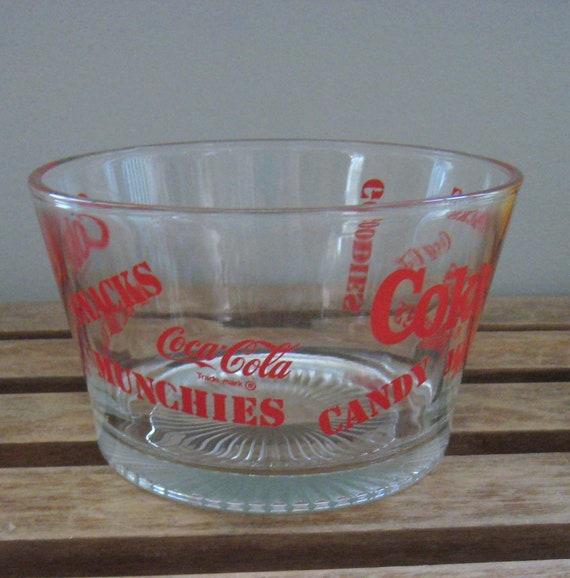Vintage 1970s Coca Cola Glass Snack Bowl