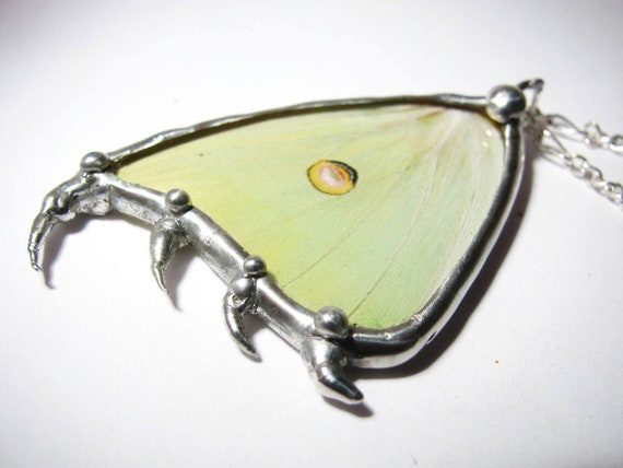 Real Recycled Luna Moth Wing Necklace