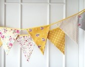 Yellow Bunting, Fabric Banners, Garland, Wedding Bunting, Flags, Mustard Yellow, Yellow Shade - 3 yards (Ready to ship)