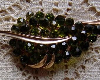 Vintage 1960s Trifari Brooch Green Aurora Borealis Grape Leaf Pin Mad Men Style