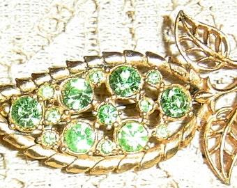 Vintage Brooch Green Rhinestone Gold Leaf Mid Century Pin Circa 1950s