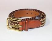 newer vintage Men's belt.  Braided waxed cord & leather by Trafalgar. 33-34. Preppy gear