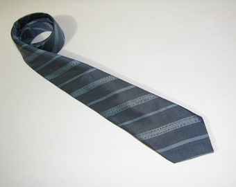 vintage Men's narrow Neck tie. Woven Blue repp stripes on Silk. Hand Made in Thailand.