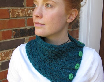 Eyelet Lace Buttoned Cowl pattern--PDF