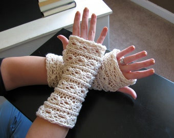 Lace Fingerless Mitts pattern--PDF