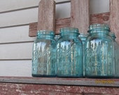 6 Antique Turquoise blue Ball mason jars wedding centerpiece