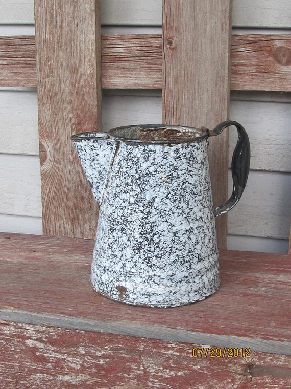 Antique enamalware black and white coffe pot