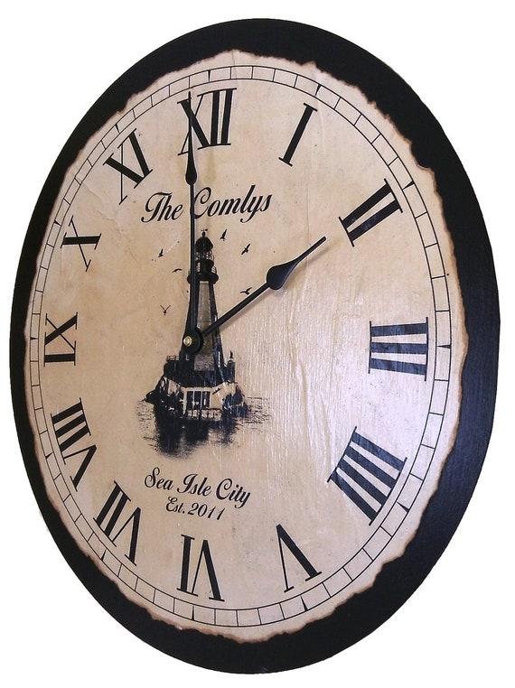 "Personalized Shorehouse Clock, 18"" x 18"""
