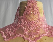 Dusty Rose Lace Organza Trim with Faux pearls and sequins -- Bridal headpiece, bridal veil -- 6.5  Inches wide