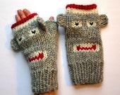 Fingerless Gloves - Sock Monkey Fingerless Mittens - Adult Large