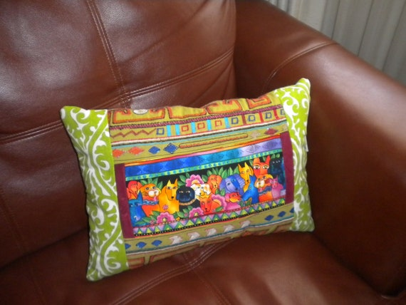 Embroidered- Laurel Burch- Dogs and Cats- One of a Kind Pillow