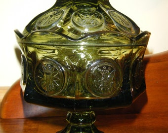 Fostoria Green Glass Covered Compote, Candy Dish