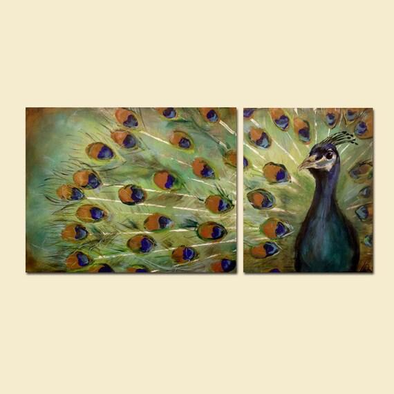 Peacock Painting (48 x 24) Blue Green Custom Peacocks Bird Wall Art