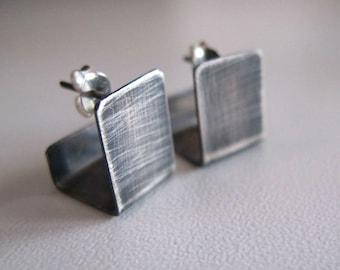 Silver stud earrings, minimal studs, modern stud earrings, gift for her