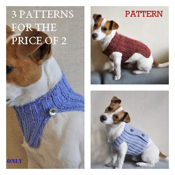 3 Crochet Dog Sweater PATTERN / PDF format Pattern / by mailo