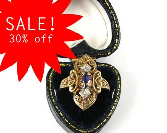 30% off SALE A Victorian Etruscan Revival Ring with Amethyst and Diamonds - 10 Karat Gold - CIRCA 1880