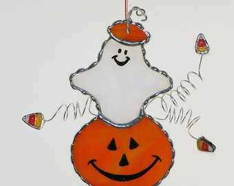 Stained Glass Suncatcher - Halloween Spooky Ghost and Pumpkin, Candy Corn