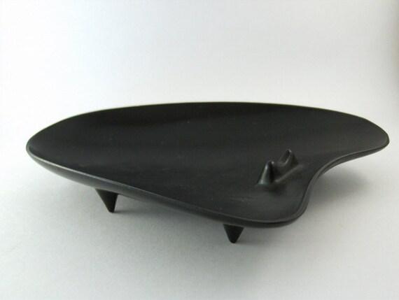 Vintage Black Plastic Ashtray - Mid Century - Footed Boomerang