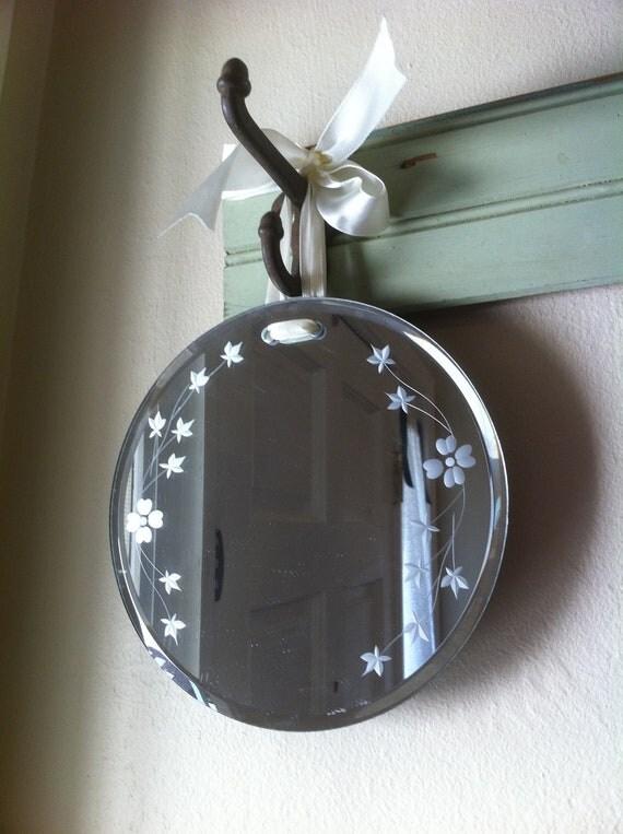 Vintage Round Beveled Edge Frameless Flower Etched Mirror