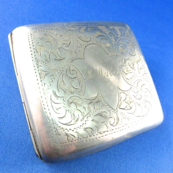 ANTIQUE CIGARETTE CASE. silver metal. vintage.  compact. engraved. webber. for your assemblage. recycle. repurpose.  No.001184