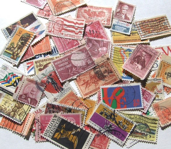 US Postage Stamps Ephemera Lot Cancelled Warm Shades and Bright Colors Red, Orange, Yellow, Pink