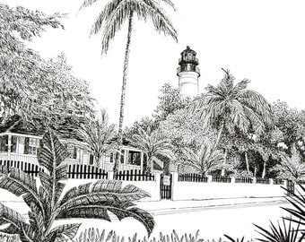 """Original Drawing or Limited Edition Print of my Pen and Ink Drawing of """"The Key West Lighthouse"""""""
