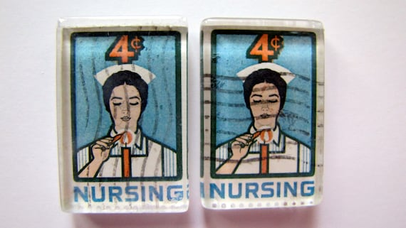 Nurse Lighting Candle - recycled, vintage postage stamp magnet  - set of 2