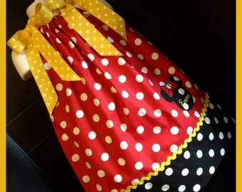 Custom Made Minnie Mouse DRESS Embroidered Applique NAME Inspired Red Polka dot SIZES 6M-6yrs Yellow trim