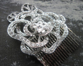 Rose hair comb, rose headpiece, crystal rose comb, Bridal hair comb, Wedding hair comb, Crystal Rose Hair Comb, wedding hair acessory, comb,