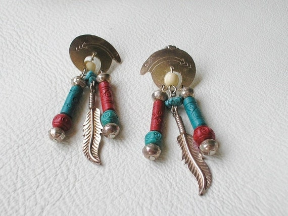 Southwestern, Sterling Silver, Bear Fetish Totem, Dangle, Vintage Earrings - EVE