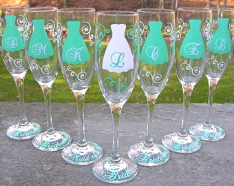 Bridesmaid champagne glasses, 7 Personalized dress flutes for bridesmaids.  Mint blue and white, mint or you pick color