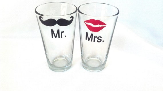 Red lips and black mustache glasses, beer mugs or wine glasses, with Mr. and Mrs. writing