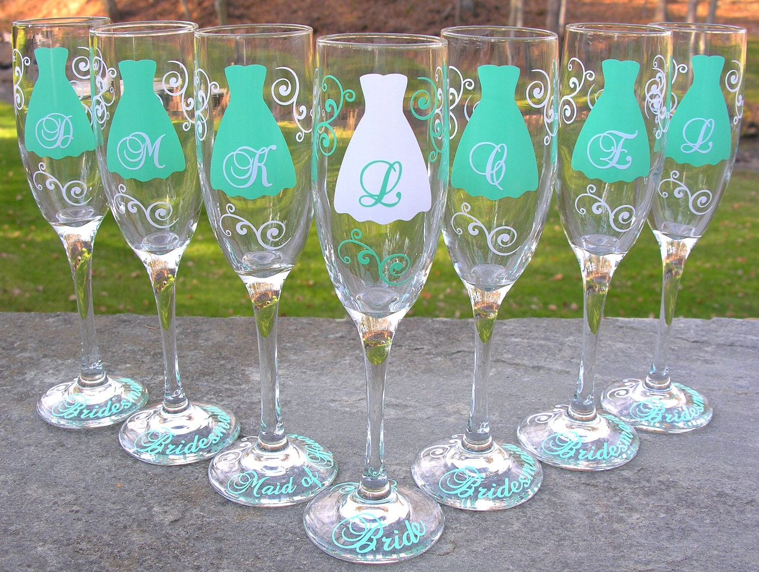 Bridesmaid Champagne Glasses 7 Personalized Dress Flutes For