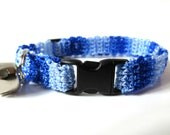 Adjustable Cat Collar Shades of Blue with Bell