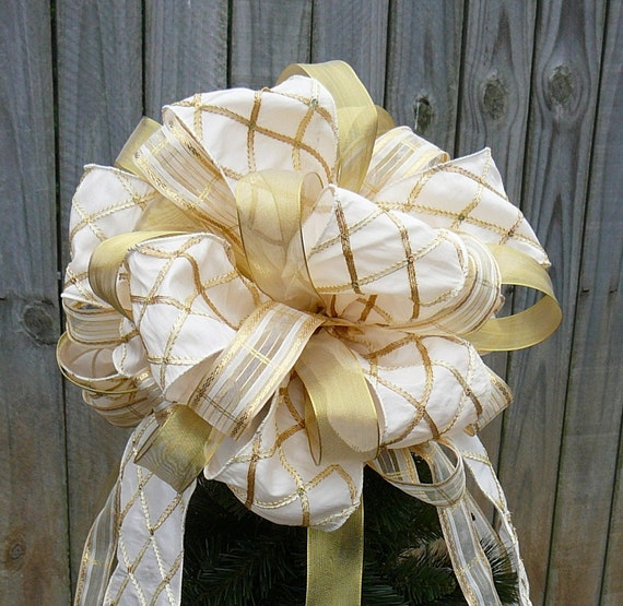 Christmas Tree Topper - Elegant Cream and Gold Double Sided Tree Top Bow for Christmas
