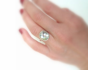 Sterling and White Topaz Ring