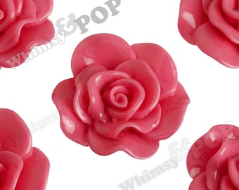 Large Bubblegum Pink Rose Cabochons, Flower Cabochons, Flower Cabs, Rose Flatback, 30mm x 28mm (R3-071)
