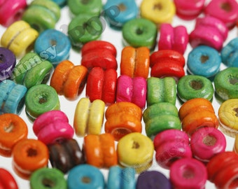 100 - Colorful Wood Beads, Rainbow Beads, Wooden Beads, 6mm x 5mm, Hole 2mm (R6-133)