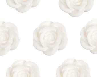 Large White Flower Cabochons, Flower Shaped, 18mm (R8-032,C2-09) - Sold in Packs of 10, 20, or 30 Pieces