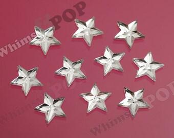 25 - Clear Star Acrylic Rhinestone Flatback Cabochons, Star Cabochons, Flatback Stars, Star Embellishments, 10mm (R8-142)