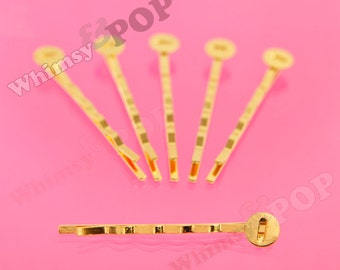 Gold Bobby Pin Blanks and Findings, Bobby Pins, Bobbie Pins, Bobbies, 52mm wide, 8mm Glue Pad (R2-159,C1-14)