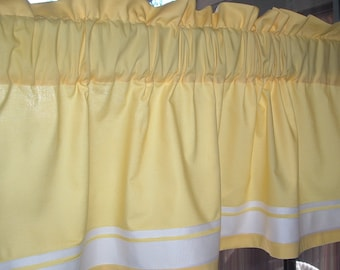 Valance Sunny YELLOW COTTON 40 x 16 with RIBBON trim