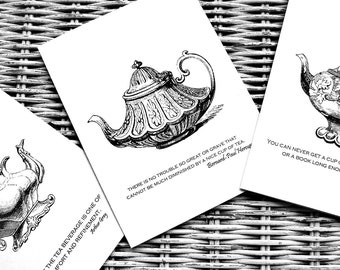 Teapot Cards with Quotes Combo Pack Two Each of Three Designs (6)