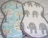 """Baby burp cloths- set of 2- 10"""" x 18"""". Made with Michael Miller's 'backyard baby' and grey and white chevron. Backed with white chenille."""