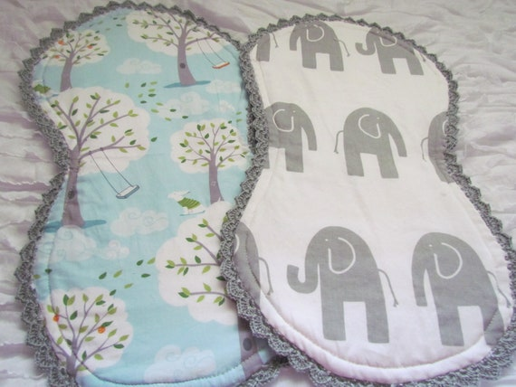 "Baby burp cloths- set of 2- 10"" x 18"". Made with Michael Miller's 'backyard baby' and grey and white chevron. Backed with white chenille."
