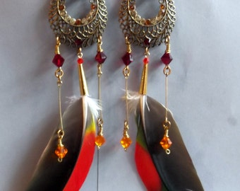 Awesome Large Swarovski and Parrot Feather Chandelier Earrings/Gypsy/Boho