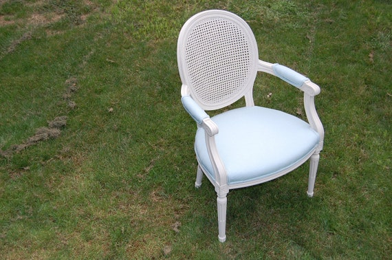 Reserved for Lacey - 2 Cane Back Arm Chairs  -  Fresh Cream Paint with New Light Blue Linen Upholstery