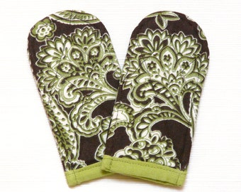 Pan Handle Covers Brown Green Paisley--Ready to Ship